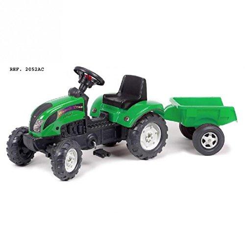 FALK - Tractopelle Green Tractor avec remorque - Dès 2 ans - Fabriqué en France - pelle frontale articulée - Plaque d'immatriculation personnalisable - 2052M