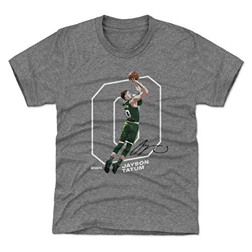 500 LEVEL Jayson Tatum Youth Shirt (Kids Shirt, 10-12Y Large, Tri Gray) - Jayson Tatum Outline W WHT