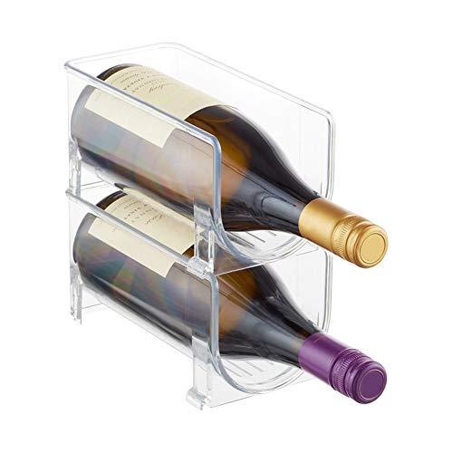 Botellero universal apilable para botellas de vino, plástico transparente, para frigorífico, cocina (2 unidades)