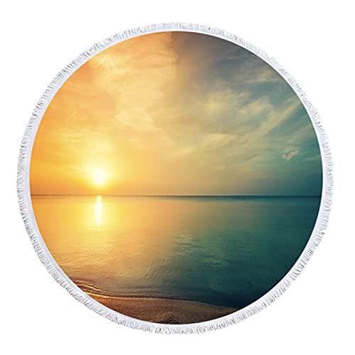 Toallas De Playa Redondas con Estampado Geométrico De La Serie Ocean, Mantas De Playa con Borlas De Microfibra, Toallas De Piscina Absorbentes De Secado Rápido 150 * 150cm