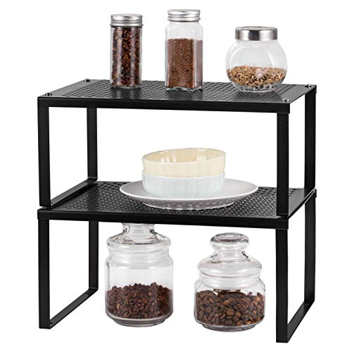 2 Pack Kitchen Cabinet, Expandable and Stackable Counter Shelf Organizer, Counter Top Organizer Shelf for Bathroom, Kitchen, Laundry Room, Black