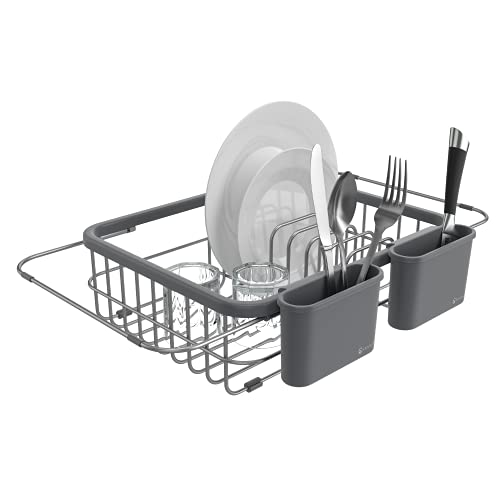 Shanik Expandable Draining Dish Rack - Over The Sink Dish Drainer,...
