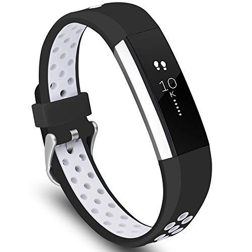 KINOEHOO Cinturino Compatibile con Fitbit Alta HR Cinturini di Ricambio in Silicone.(Nero bianco)