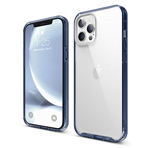elago Hybrid Clear Case Compatible with iPhone 12 Pro Max 6.7 Inch (Pacific Blue) - Shockproof Bumper Cover Protective Case