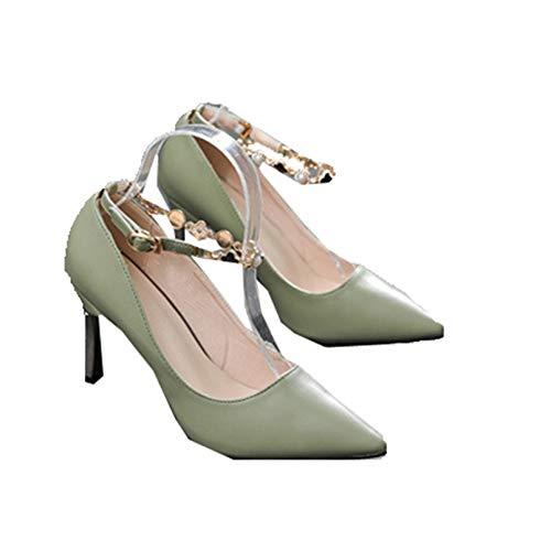 Mujeres Tobillo Correa Tacones Altos tacón Fino Primavera otoño Elegantes Zapatos de Corte Vestido de Noche clásicos Bombas de Punta Estrecha