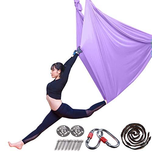 Aerial Yoga Hängematte Pilates Trapez Silk Elastische Yogatuch Haengematte Seiden Yoga Schaukel Set Hängetuch Equipment inkl. Karabiner, Daisy Chain, Pose Guide L: 5M B: 2,8M