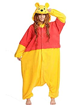 ZEALOVE Halloween Adult Pajamas Sleepwear Animal Cosplay Costume Adult Onesie Costume for Winnie Yellow