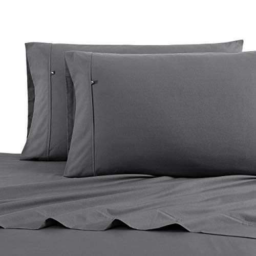Nautica - Percale Collection - Bed Sheet Set - 100% Cotton, Crisp & Cool, Lightweight & Moisture-Wicking Bedding, Full, Grey
