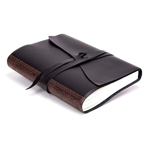 Melfi A5 mittelgroßes Notizbuch aus Leder, Handgearbeitet in klassischem Italienischem Stil, Tagebuch, Lederbuch A5 (15x21 cm) Schwarz