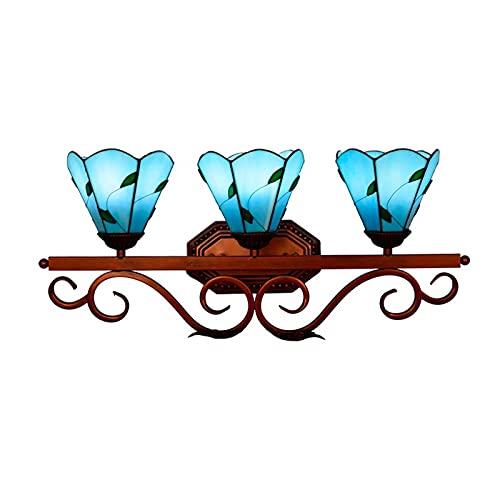 XINGYU Apliques De Pared Aplique De Pared Interior Lámpara De Pared E27 Vidrieras Retro Espejo De Baño Lámpara Frontal Pasillo Bar Restaurante Tres Cabezas Azul Mar