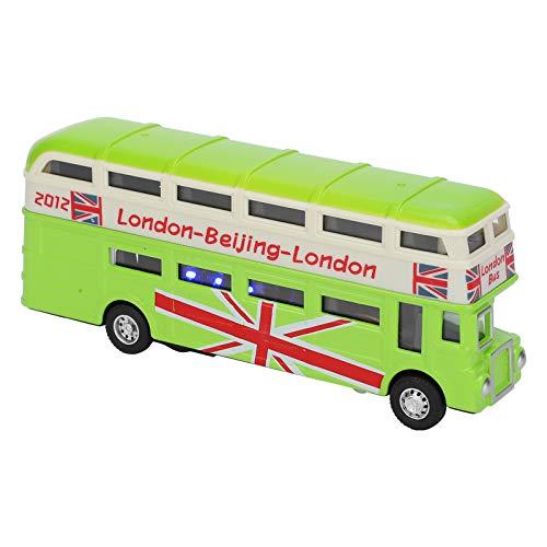 Mini autobús de aleación para niños 1:90 para niños, autobús de doble capa, juguete para niños, luz de sonido, simulación, aleación, coche retrovisor con música ligera, modelo de coche(verde)