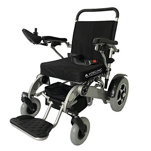 Mobiclinic, modelo Troya Plus, Silla de ruedas eléctrica, plegable, con motor, para discapacitados, minusválidos, ancianos, ortopedica, para mayores, asiento 45 cm, autonomía 34 km, 2 24V, Azul