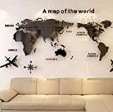 World Map Acrylic 3D Solid Crystal Bedroom Wall With Living Room Classroom Stickers Office Decoration Ideas 80 * 40Cm