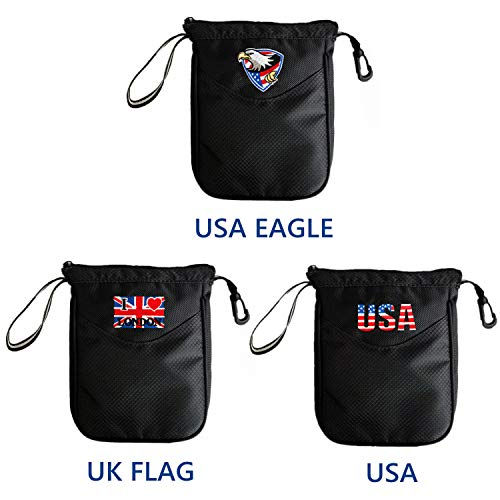 FINGER TEN Golf Valuables Pouch Bag Clip Zipper Hook to Bag, with Free 4 Pcs Golf Pencil Value Pack, Travel Gear Style USA Eagle UK Flag (USA Pouch)