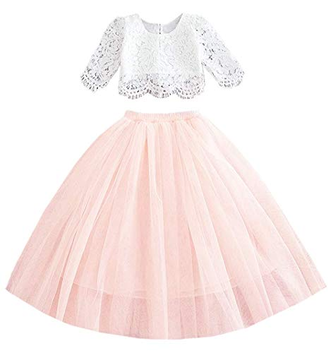 2Bunnies Girl Floral Scallop Lace Tutu Tulle Boho Bohemian Flower Girl Dress 2 Piece Outfit Sets (Pink Sleeve Maxi, 12 Months)