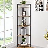 FATORRI Industrial Corner Bookshelf, 5 Tier Tall Corner Bookcase, Wood and Metal Corner Shelf Stand (Rustic Oak)…