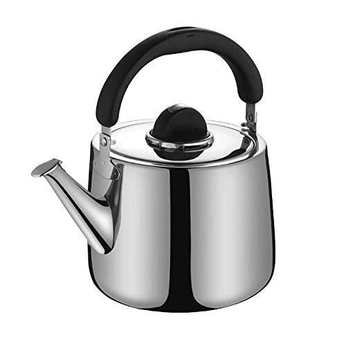 tea kettle Bouilloire for Thé Inoxydable Stove Top, Grande Capacité Sifflet Bouilloire À Thé Ergonomique Résistant À La Chaleur Poignée Maison Cuisine Bouilloire (Couleur : Silver, Taille : 5L)