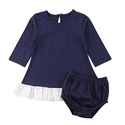 Haokaini Baby Meisjes Casual Navy Blauw Kleding Set Splicing Ronde Kraag Top Shorts Outfits Set