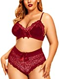 Women's Plus Size Lingerie Set Sexy See Through Halter Lace Bow Bra High Waist Panty 2 Piece Underwear (Wine Red, X-Large)