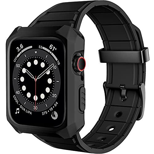 Songsier Band Compatible para Apple Watch 38mm 42mm 40mm 44mm con estuche, Estuche protector resistente a caídas Estuche resistente a los golpes Correa de TPU deportivo para iWatch SE 6 5 4 3 2 1