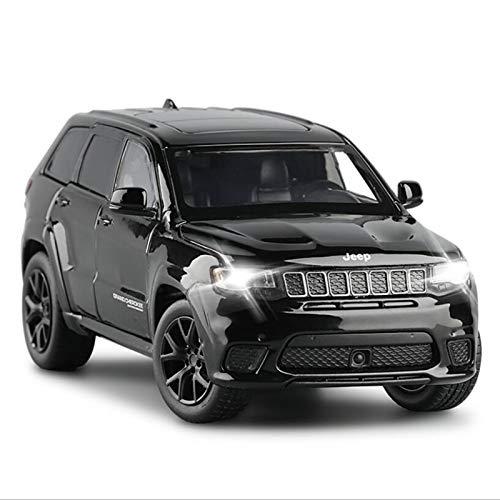 Marca de coche modelo 1:32 para Jeep Grand Cherokee aleación de coche modelo amortiguador rueda decoración del coche sonido y luz juguete regalo de fiesta para niños (color negro)