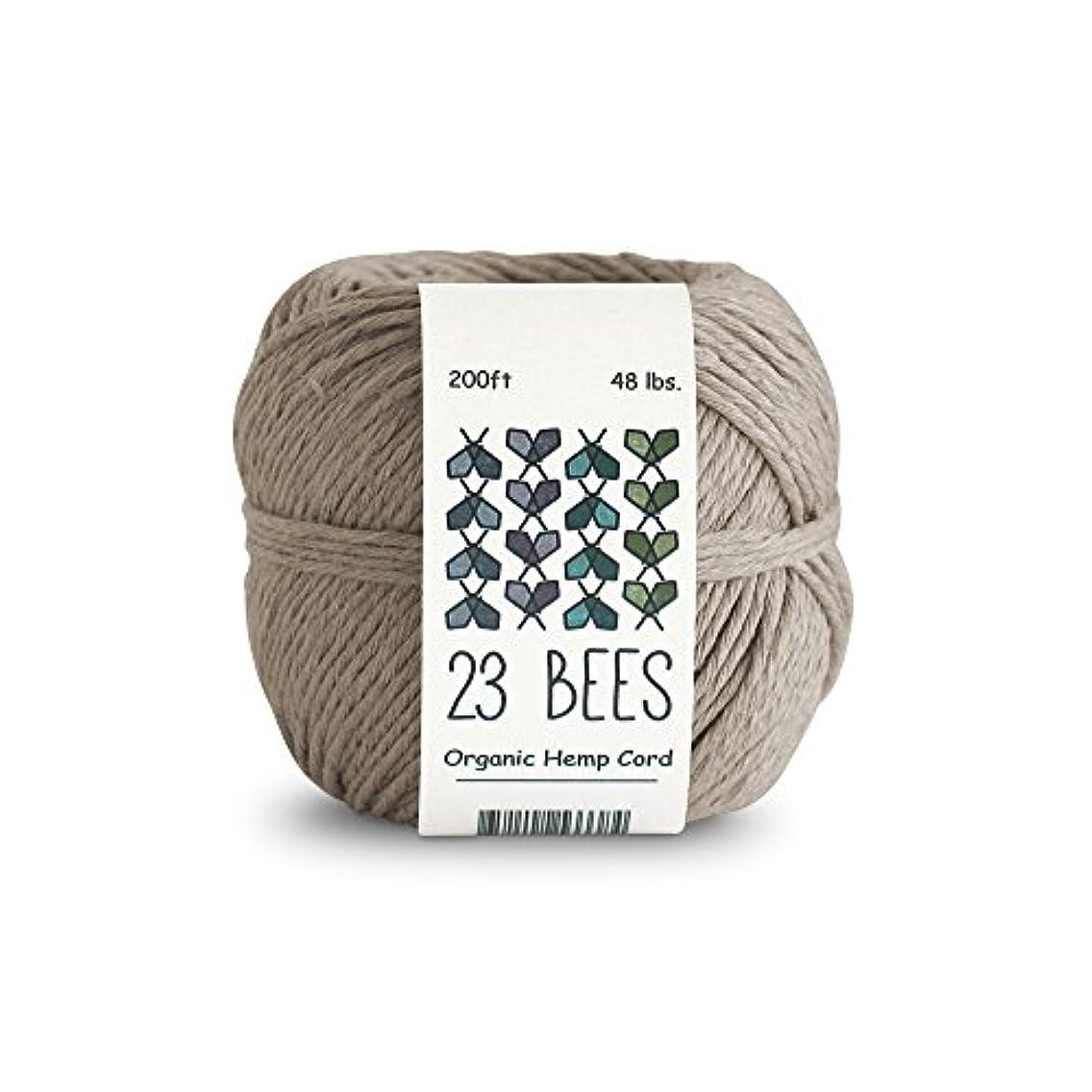 100% Organic Hemp String, Twine, Cord | Jewelry Making, Beading, Macrame, Crafts | 23 Bees (200ft x 48 lb.)