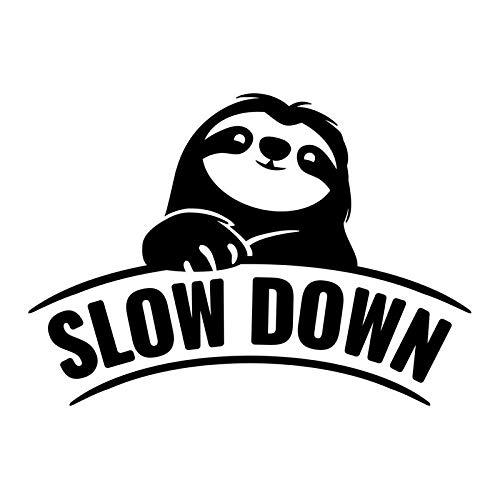 Slow Down Sloth Vinyl Decal Sticker | Cars Trucks Vans SUVs Walls Cups Laptops | 6 Inch | Black | KCD2650B