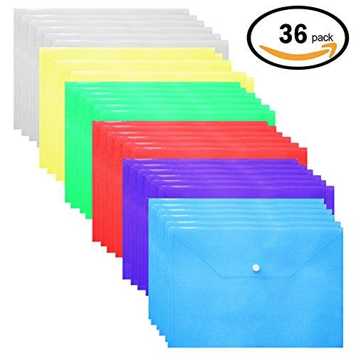Plastic Envelopes Poly Envelopes - 36 Pack Poly Folders With Snap Button Closure Plastic Folders Premium Quality Document Folder A4 Size 6 Assorted Colors