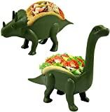 Unido Box Dinosaur Taco Holder - Kids Plastic Novelty Taco Plate - Army Green - Set of 2-1 Triceratops, 1 Brontosaurus (2)