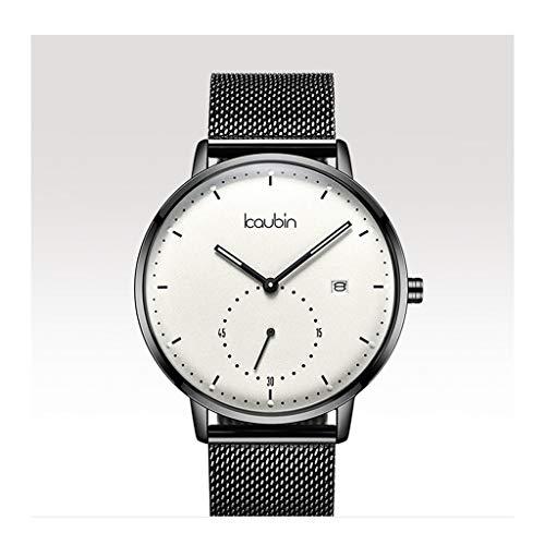 Orologio da uomo Reloj Ultra Delgado para Hombre, Reloj de Cuarzo Impermeable para Hombres con Banda de Malla de Acero Inoxidable (Color : B)