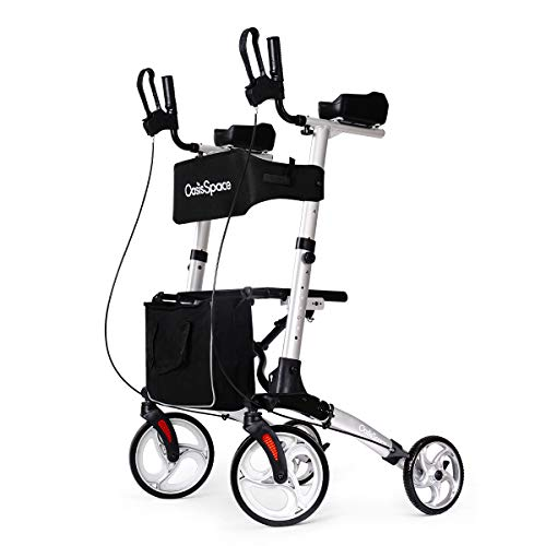 OasisSpace Compact Upright Rollator Walker- Stand up Rollator Walker with Forearm Support for Senior