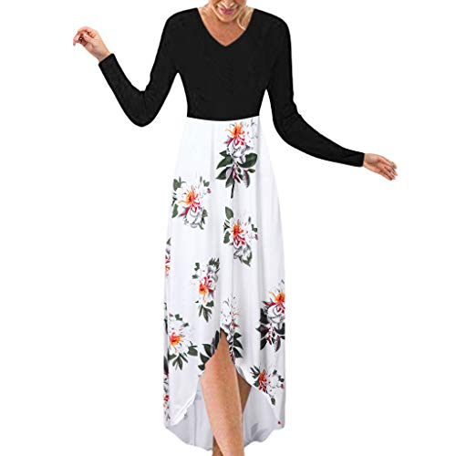 Review Of Women Maxi Dresses Long Sleeve V-Neck Patchwork Floral Printing High-Low Long Dress White