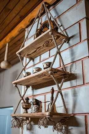 XKMY Estantería de encargo del estante de la cuerda del alambre de las PC de la operación 3 del diseño decorativo de madera del estante de
