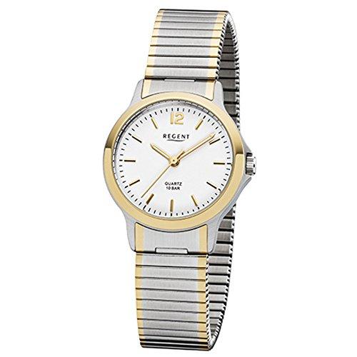 Regent dameshorloge elegant analoog roestvrij stalen armband zilver goud kwartshorloge wijzerplaat zilver wit URF1019