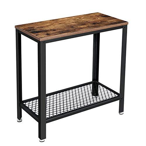 VASAGLE Beistelltisch, Nachttisch, einfach zu montieren, Sofatisch mit Gitterablage, Couchtisch im Industrie-Design, stabil, platzsparend, Wohnzimmer, Schlafzimmer, Vintage LET31BX
