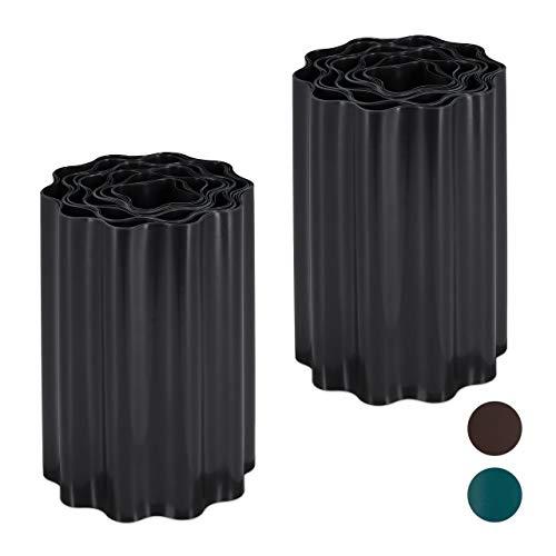 Relaxdays 2 x Flexible Rasenkante, wellige Beeteinfassung aus Kunststoff, Umrandung für Rasen & Beet, HT: 20 x 900 cm, schwarz