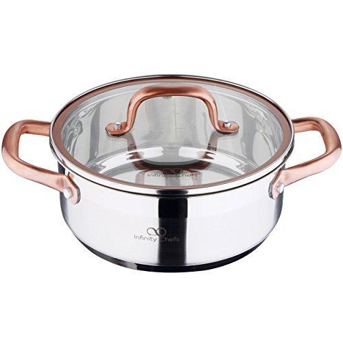 Bergner Infinity Chef Cacerola de inducción con Tapa de Vidrio, Acero Inoxidable, Plateado, 20 cm
