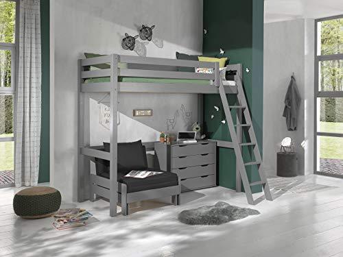 Vipack Cama alta con superficie de descanso de 90 x 200 cm, incluye cama y cajones de madera de pino maciza, color gris lacado