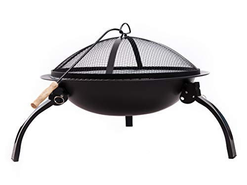 """Neakomuki Fire Pit Portable Fire pits Outdoor Wood Burning 22"""" Folding Firepit Bowl Patio Small Firepits for Outside Charcoal BBQ Grill Camping Barbecue with Poker Grate and Carry Bag"""