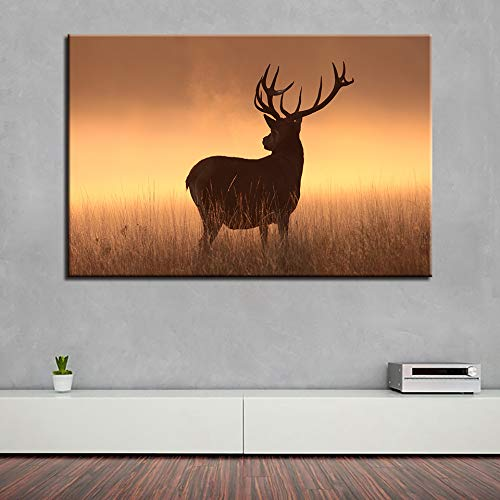 GJQFJBS Wall Art Canvas HD Print Family Animal Decoration Deer Head Imagen de Fondo Creative Poster A3 50x70cm