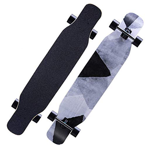 NMDD Longboard Cruiser Erwachsene 46 Zoll Retro 8 Lagen Maple Decks Double Kick Anfänger Skateboard, Teenager Junge Kind Kinder Mädchen Konkav Trick Komplette Skate ABEC-11 Lager Penny Board, Gra