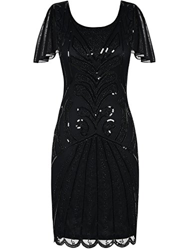 PrettyGuide Women's Flapper Dress 1920s Bead Sequin Cocktail Gatsby Dress with Sleeve S Black