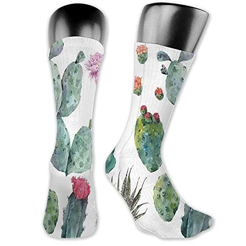 XCNGG Calcetines de compresión de media pantorrilla, dibujos animados de hierbas botánicas del desierto como flor de planta de cactus con estampado de picos