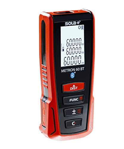 SOLA Metron 60 BT Laser Entfernungsmesser 60m – Distanzmesser Laser mit Bluetooth Datentransfer - Laser Messgerät mit 9 Messfunktionen und Li-Ion Akku – IP54