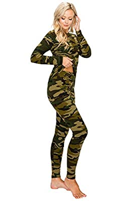 ALWAYS Women's Thermal Underwear Set - Fleece Lined Premium Soft Winter Warm Long Johns Base Layer Thermal Wear 143 Camo L from