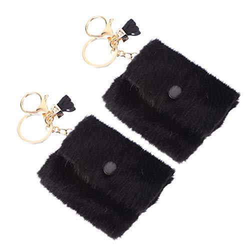 Amosfun 2 llaveros de peluche para monedero y llavero, con mini bolsillo colgante, auriculares, bolsillo para llaves del coche, bolso de mano, colgante para niñas