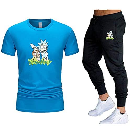 DYJXIGO Herren Rick Morty T-Shirt und Hose, Jogginghose, Trainingsanzug, Sweathose, Sportanzug, Blau, M