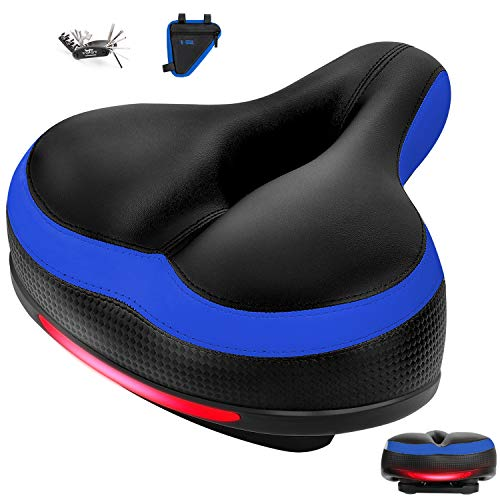 Zutesu Bike Seat, Most Comfortable Bicycle Seat Memory Foam Bike Saddle Cushion Comfort for Women Men -Shock Absorbing-Waterproof Replacement Bicycle Saddle with Reflective Band
