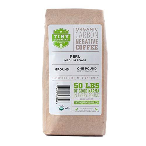 Tiny Footprint Coffee - Fair Trade Organic Peru APU Medium Roast - Ground Coffee, USDA Organic & Carbon Negative - You Drink Coffee, We Plant Trees, 16 Ounce