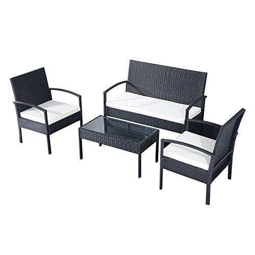 EBS Conjunto de Muebles Poli Ratán para Jardín Terraza Patio - 3 Cojines Blancos 1 Mesa de Café 1 Sofá Biplaza 2 Sillas/Negro